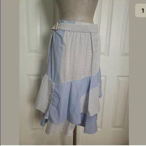 DKNY Large Blue White Pinstripe Midi Layered Skirt